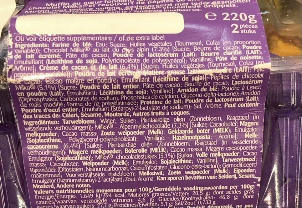 Muffin milka - Informations nutritionnelles - fr
