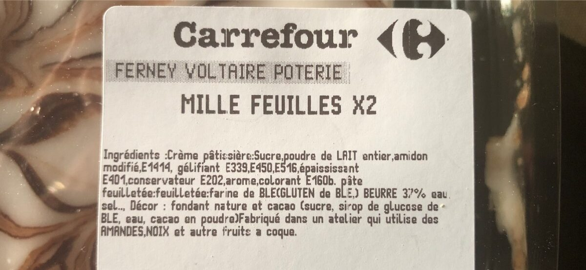 Millefeuille - Ingrédients