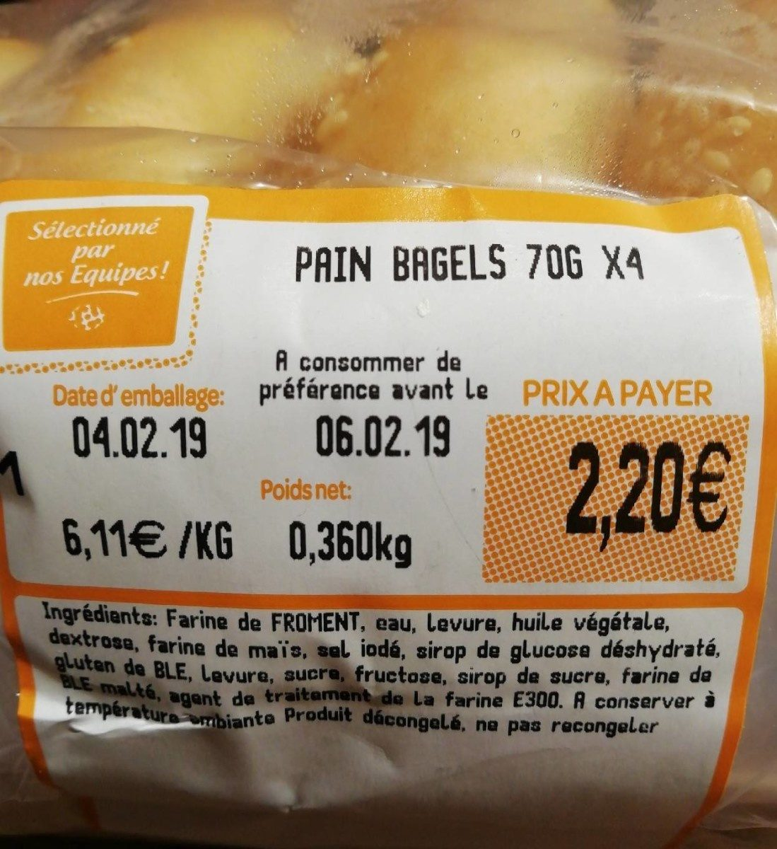 Pain bagels - Ingredienti - fr