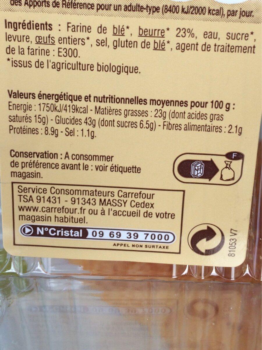 Croissant pur beurre, bio - Voedingswaarden