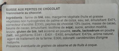 Suisse aux pépites de chocolat - Ingrédients