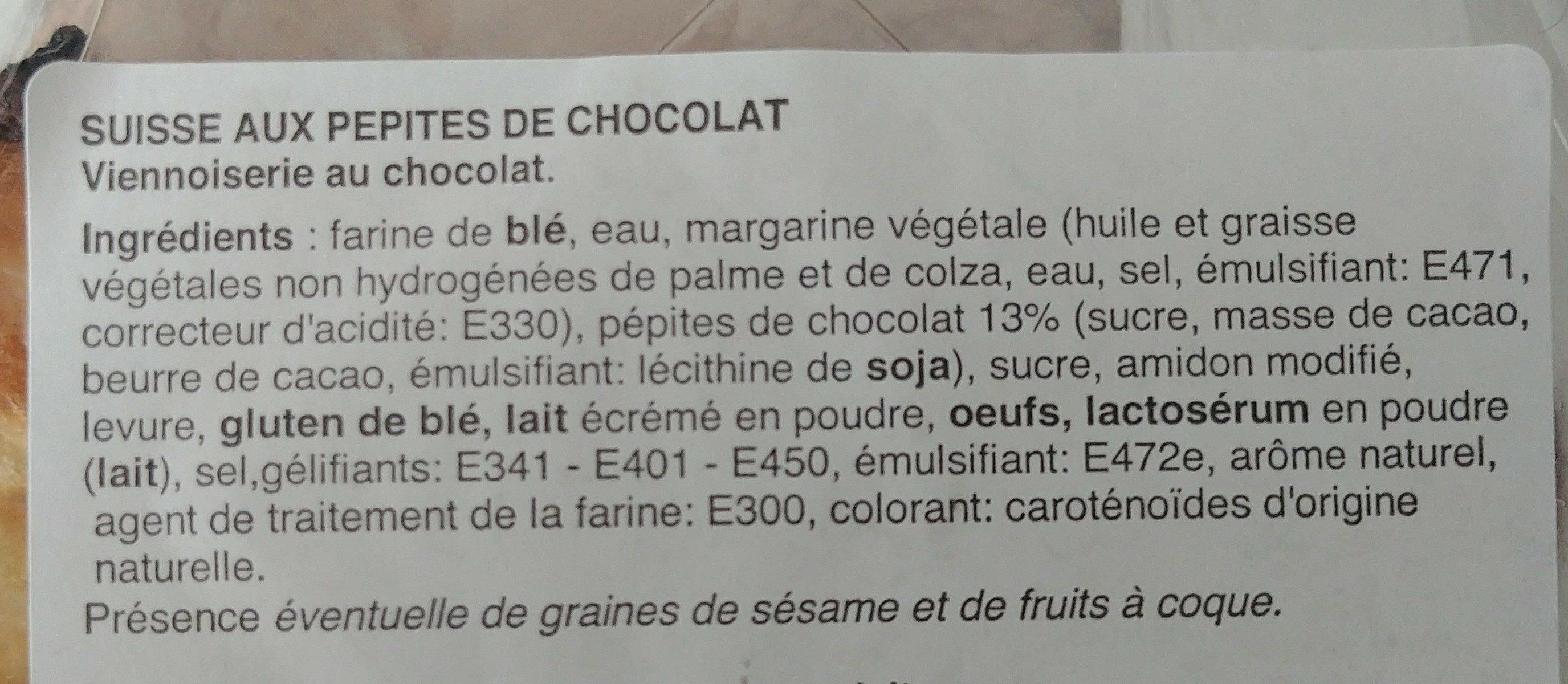 Suisse aux pépites de chocolat - Ingrédients - fr