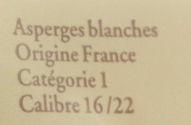 Asperge blanche du Lot - Ingrédients - fr