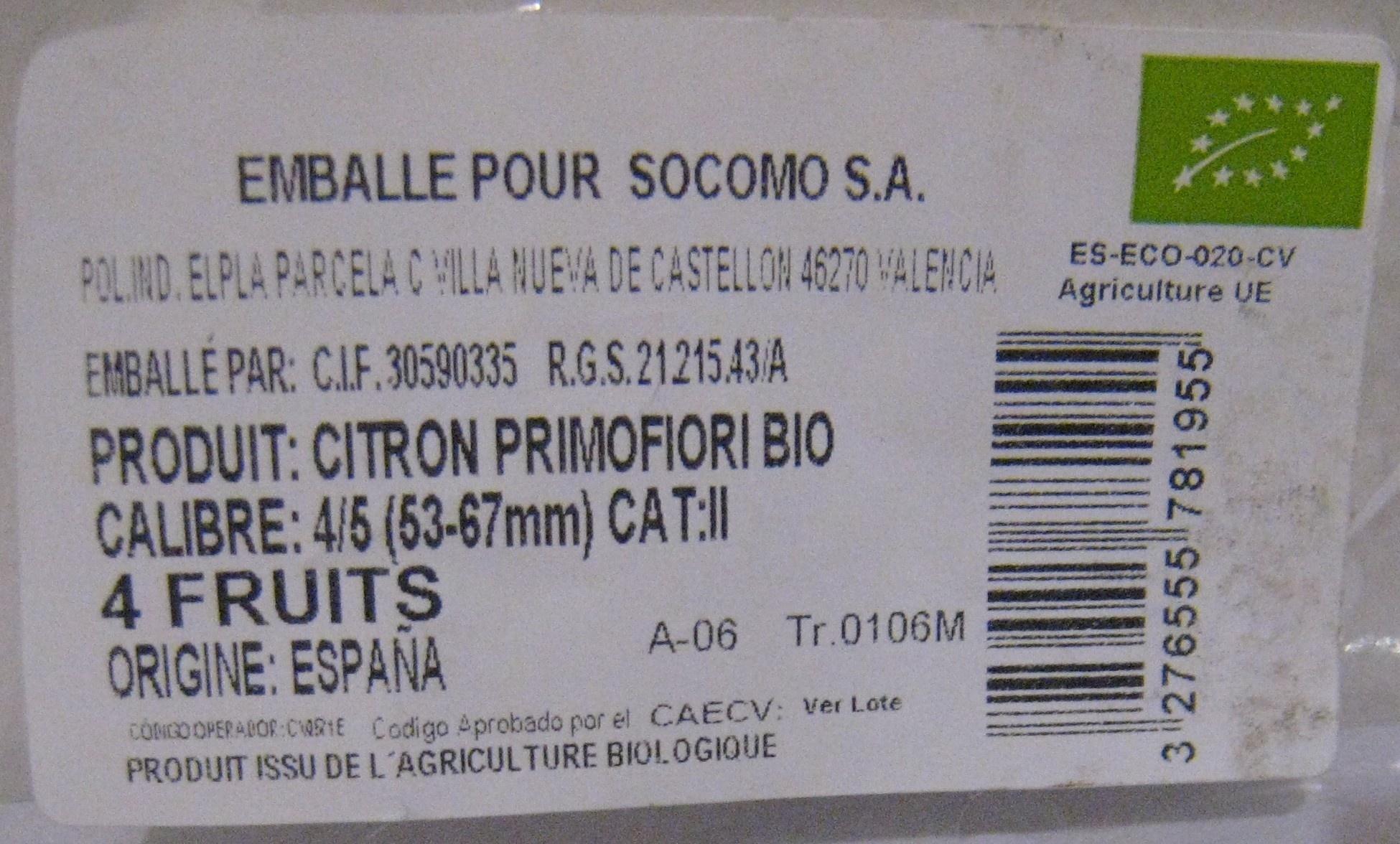4 Citrons bio AgriBio - Ingrediënten - fr