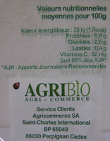 4 Citrons bio AgriBio - Voedingswaarden - fr