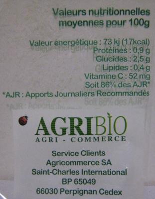 4 Citrons bio AgriBio - Voedingswaarden