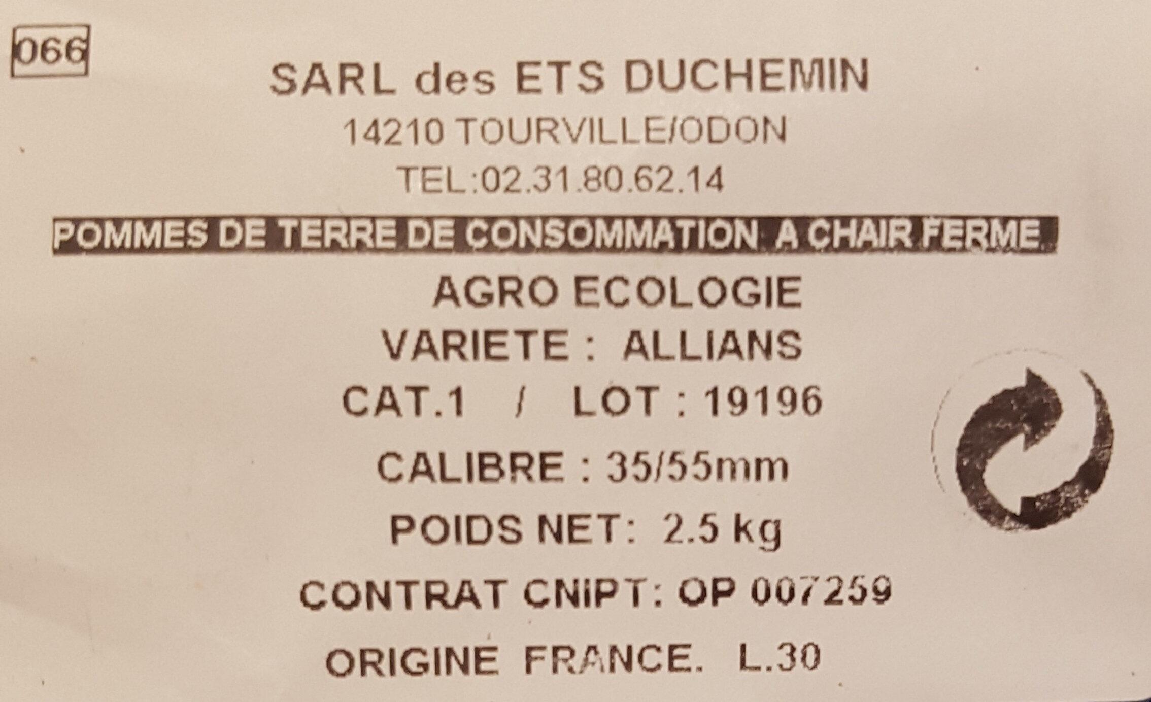 Pommes de terre Vapeur-Raclette Gratin-Rissolées - Ingredients