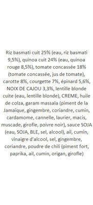 Tikka Masala aux Légumes - Ingrédients