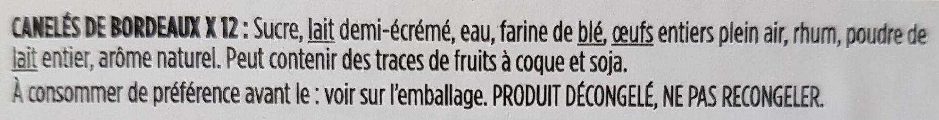 Cannelés - Ingrediënten - fr