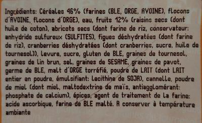 Pain aux céréales et fruits - Ingrédients - fr