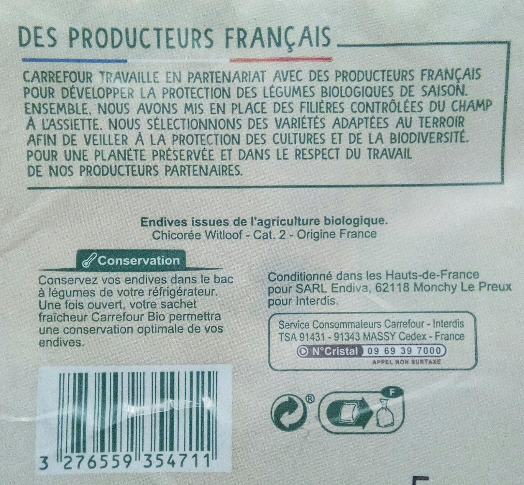 Endives bio - Ingrediënten - fr