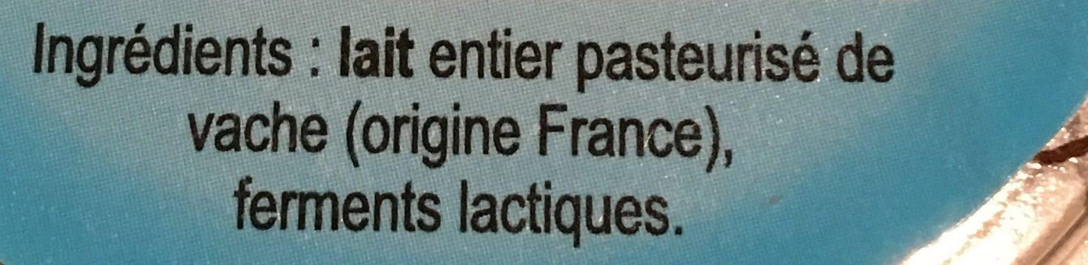 Yaourt nature au lait entier EBRARD - Ingrediënten - fr
