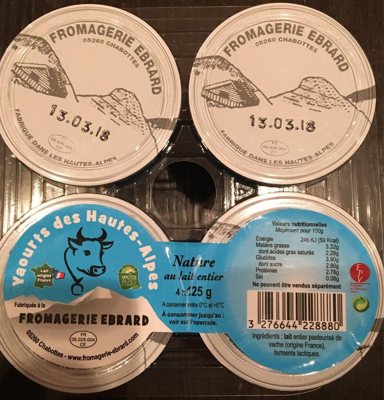 Yaourt nature au lait entier EBRARD - Voedingswaarden - fr