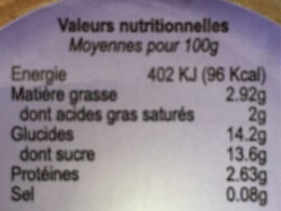 Yaourt des HAloes - Nutrition facts