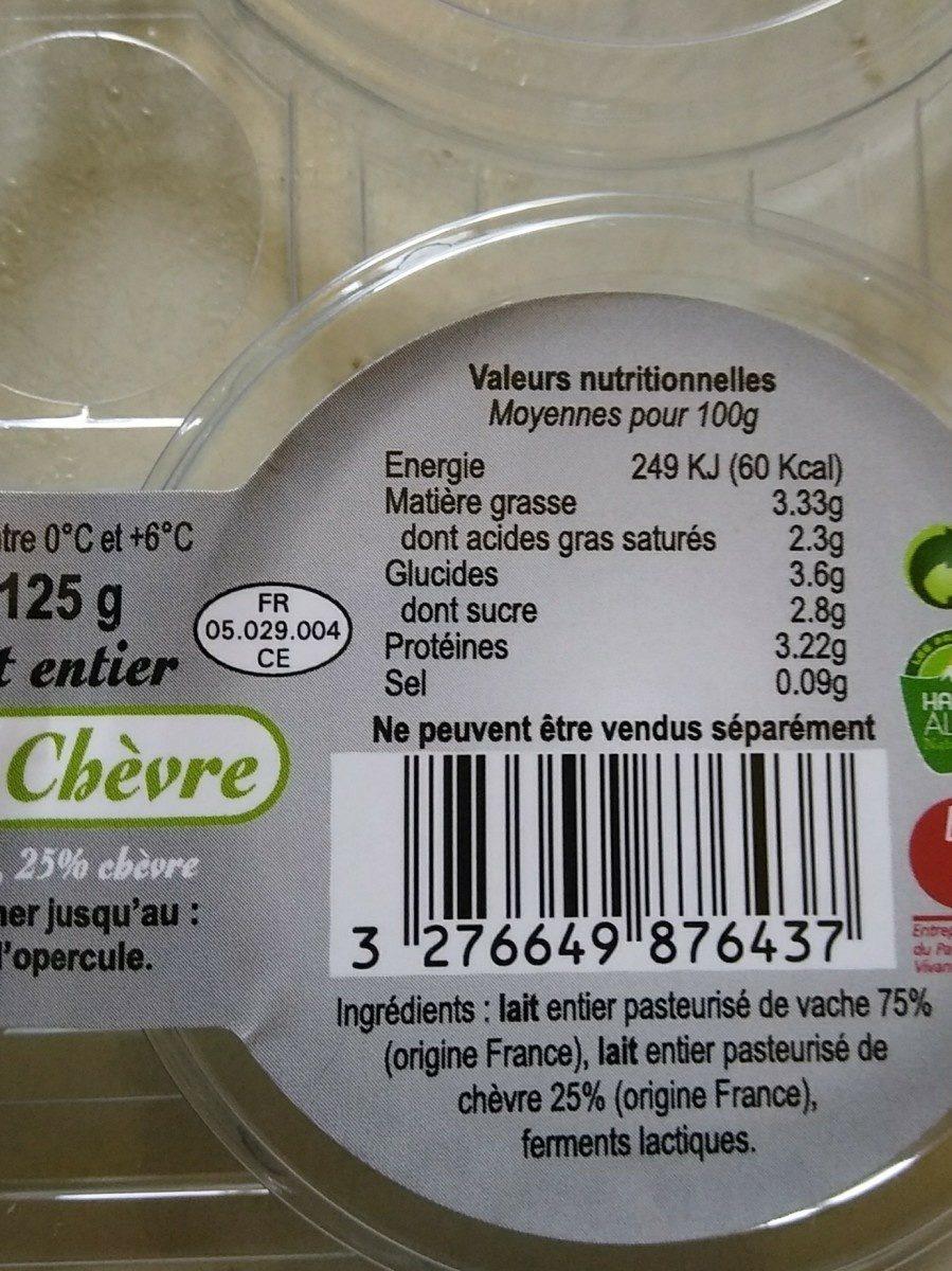 Yaourts au lait de chevre - vache FROMAGERIE EBRARD - Ingrediënten - fr