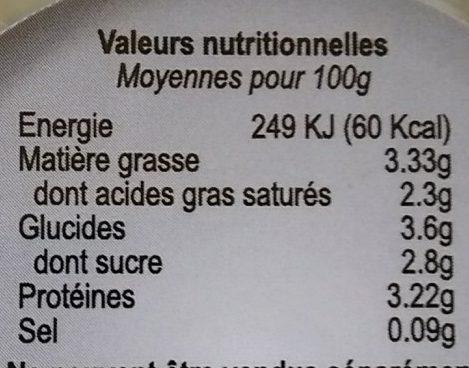 Yaourts au lait de chevre - vache FROMAGERIE EBRARD - Voedingswaarden - fr