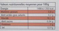 Riz long parfumé Riz du Monde - Informations nutritionnelles - fr
