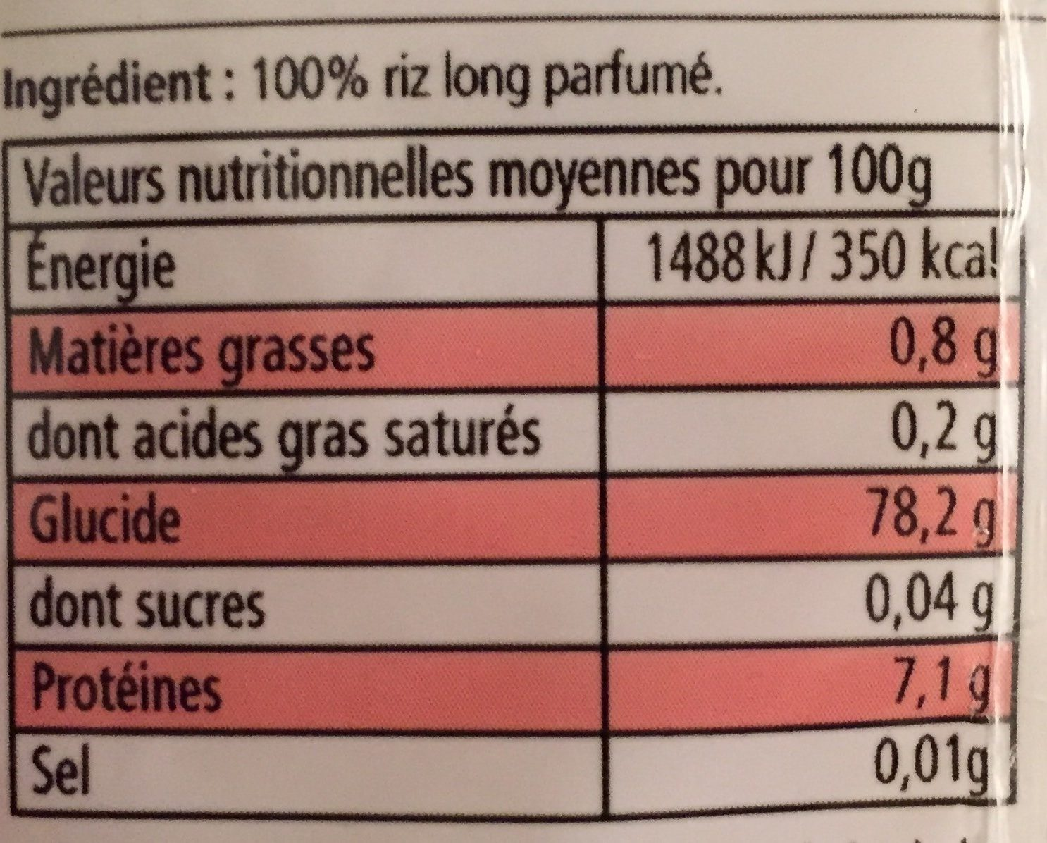 Riz long grain parfumé - Nutrition facts - fr