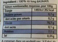 1KG Riz Long Basmati Riz Monde - Nutrition facts - fr