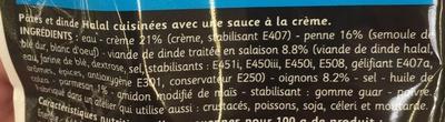 Penne Façon Carbonara (Dinde et Parmesan), Halal - Ingrédients - fr