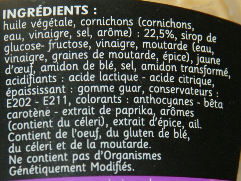 Sauce Burger goût classique (Halal) - Ingrediënten