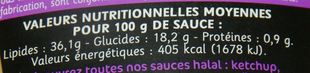 Sauce Burger goût classique (Halal) - Voedigswaarden