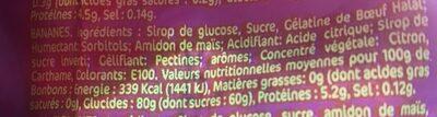 Bonbons Banane halal - Ingredients - fr