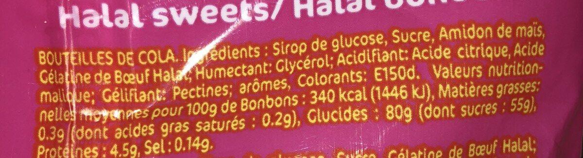 200G Bonbons Halal Btles Cola Samia - Ingrediënten - fr