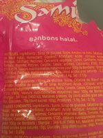 200G Bonbons Halal Oursons Samia - Ingredients