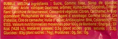 Bubble gum melon - Informations nutritionnelles - fr