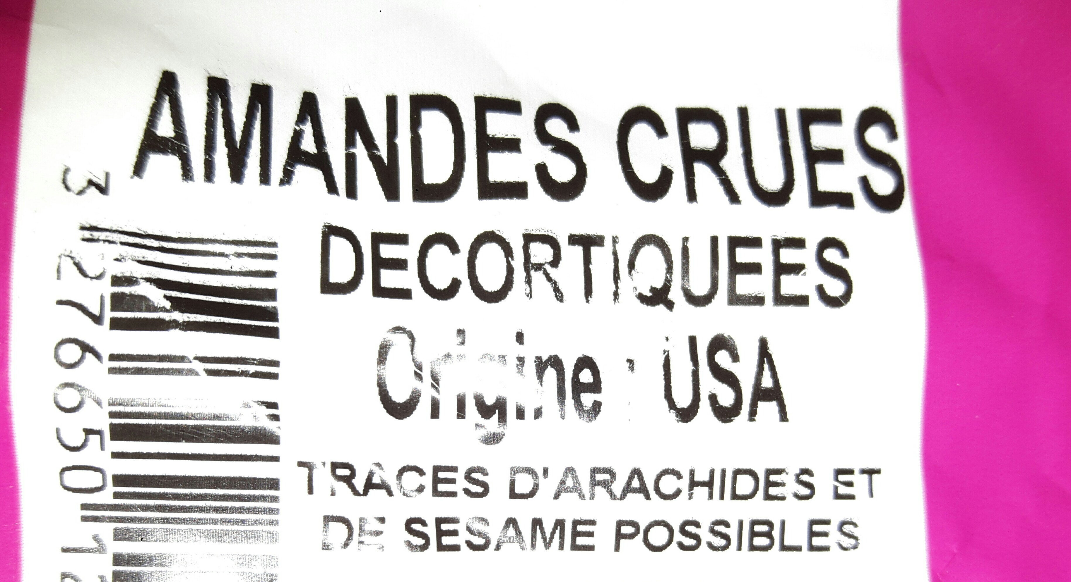Amandes crues décortiquées - Ingredients - fr