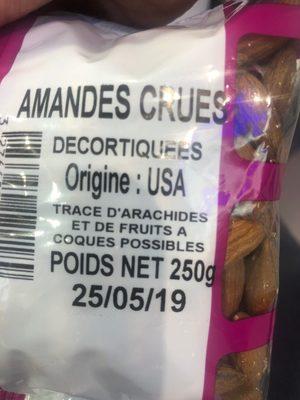 Amande Dec.usa 250Grs, - Ingrédients - fr