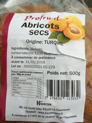 Abricots secs - Ingrédients