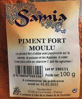 100G Piment Fort Moulu Samia - Ingrediënten - fr