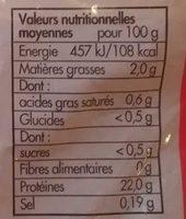 Filets de poulet jaune - Informations nutritionnelles
