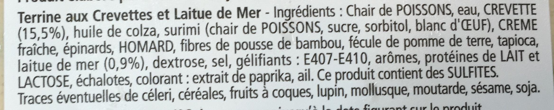 Les Terrines Marines Crevettes et Laitue de Mer - Ingredients