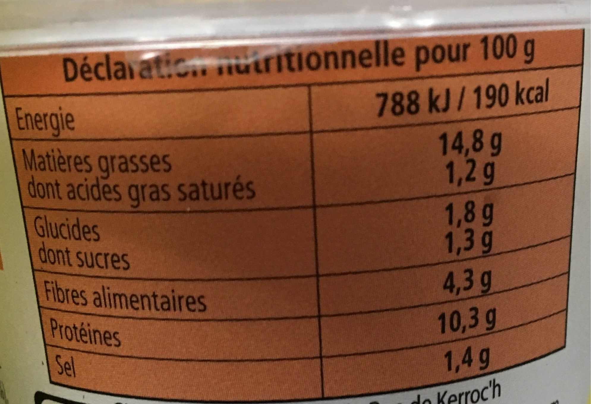 Rillette De Crabe - Nutrition facts