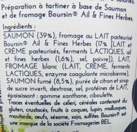 Saumon & Boursin ® Ail et Fines herbes - Ingrediënten - fr