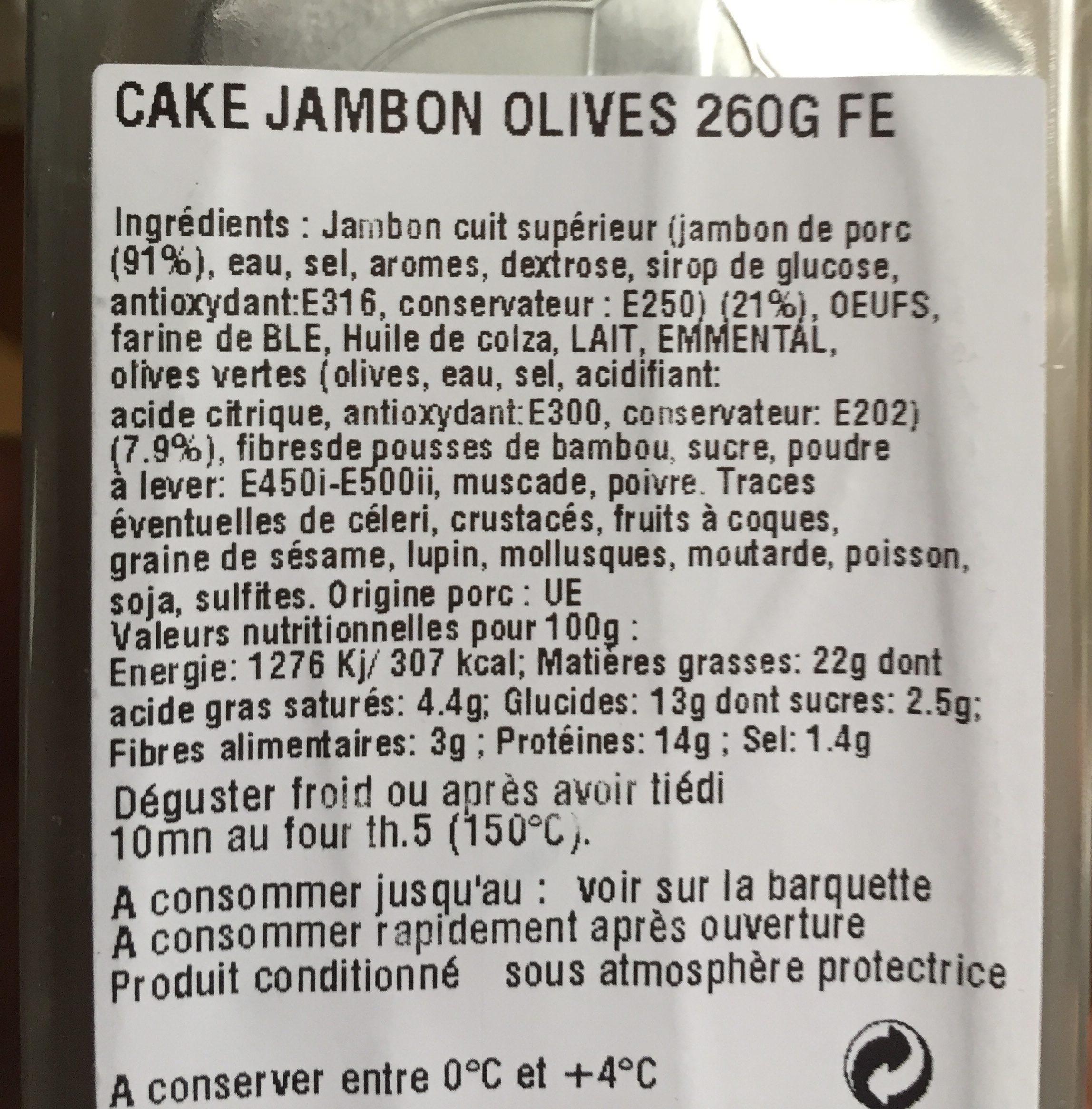 Cake jambon olive - Ingrédients - fr