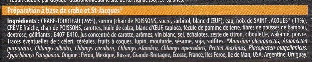 Mille-feuilles de Crabe & St-Jacques - Ingrediënten
