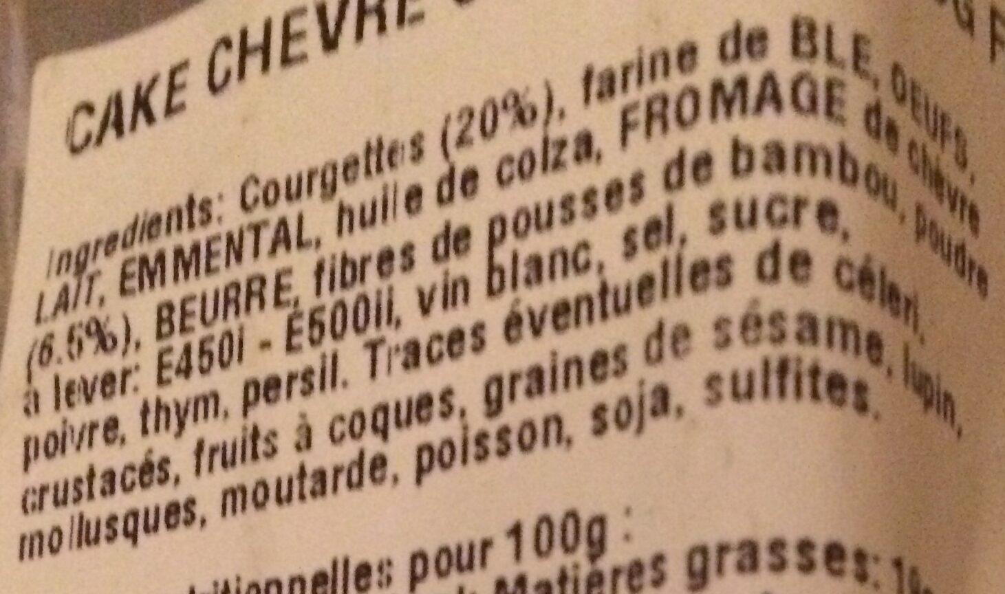 Cake au chèvre et courgette GUYADER - Ingrédients - fr