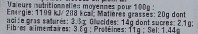 Cake Océane - Informations nutritionnelles