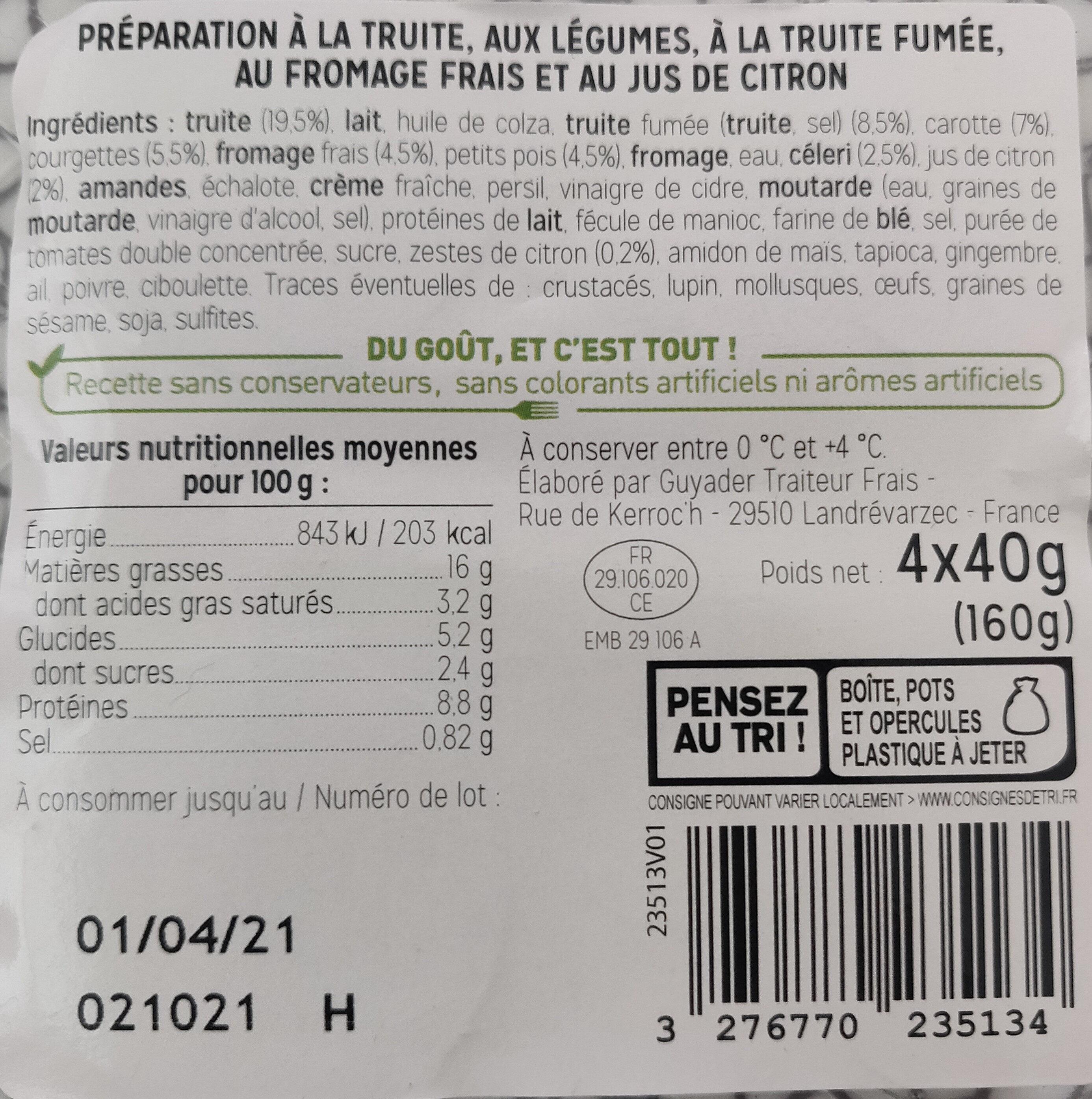 Verrines à la truite et au fromage frais citron - Produit - fr