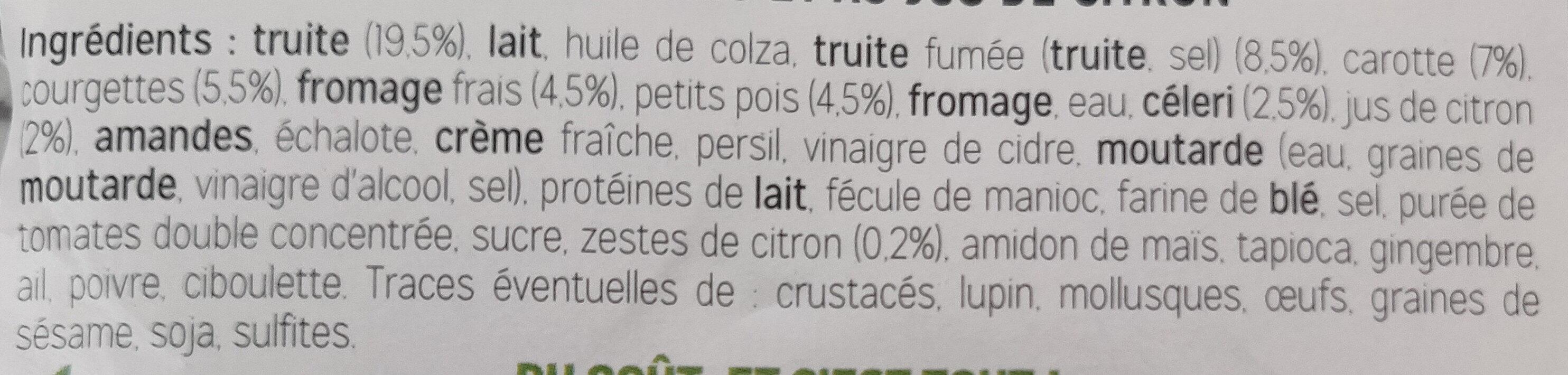 Verrines à la truite et au fromage frais citron - Ingrédients - fr