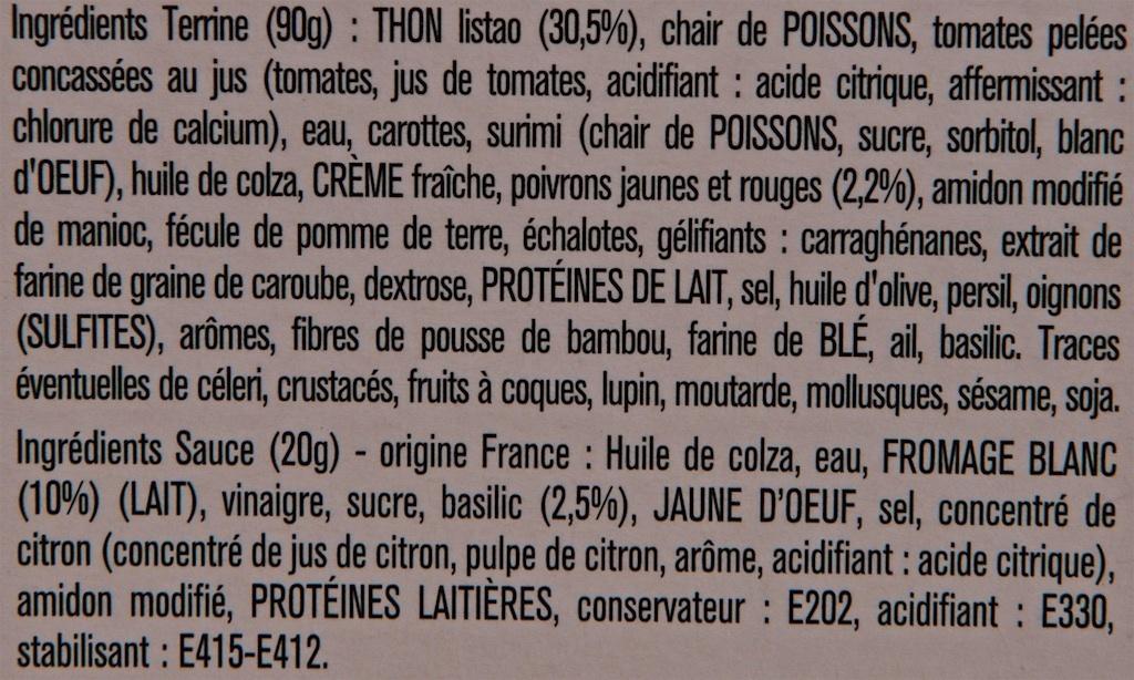 """""""L'idée Poisson du Jour"""" : Thon et Emincé de Poivrons - Ingredients"""