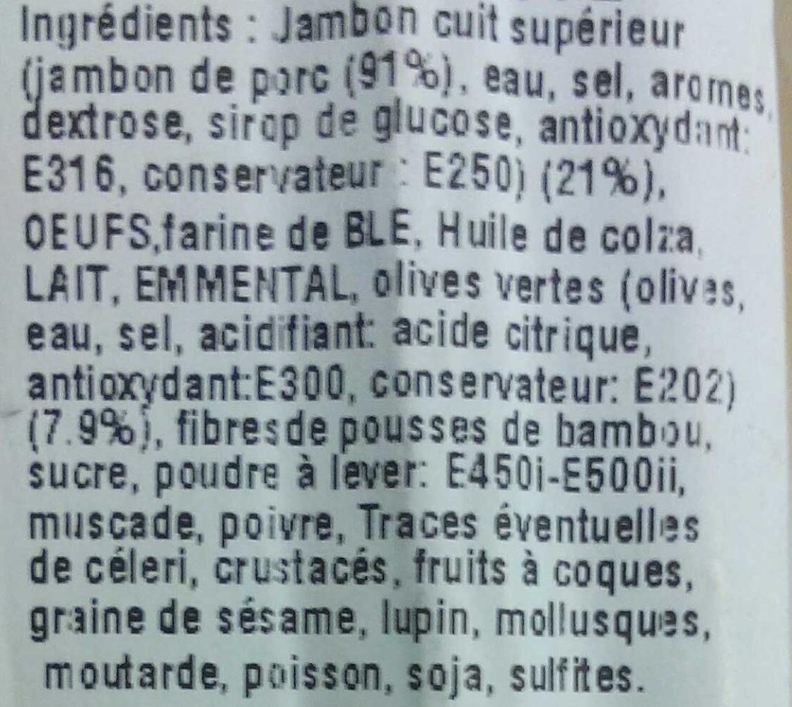 Cake Jambon Olives - Ingrédients - fr