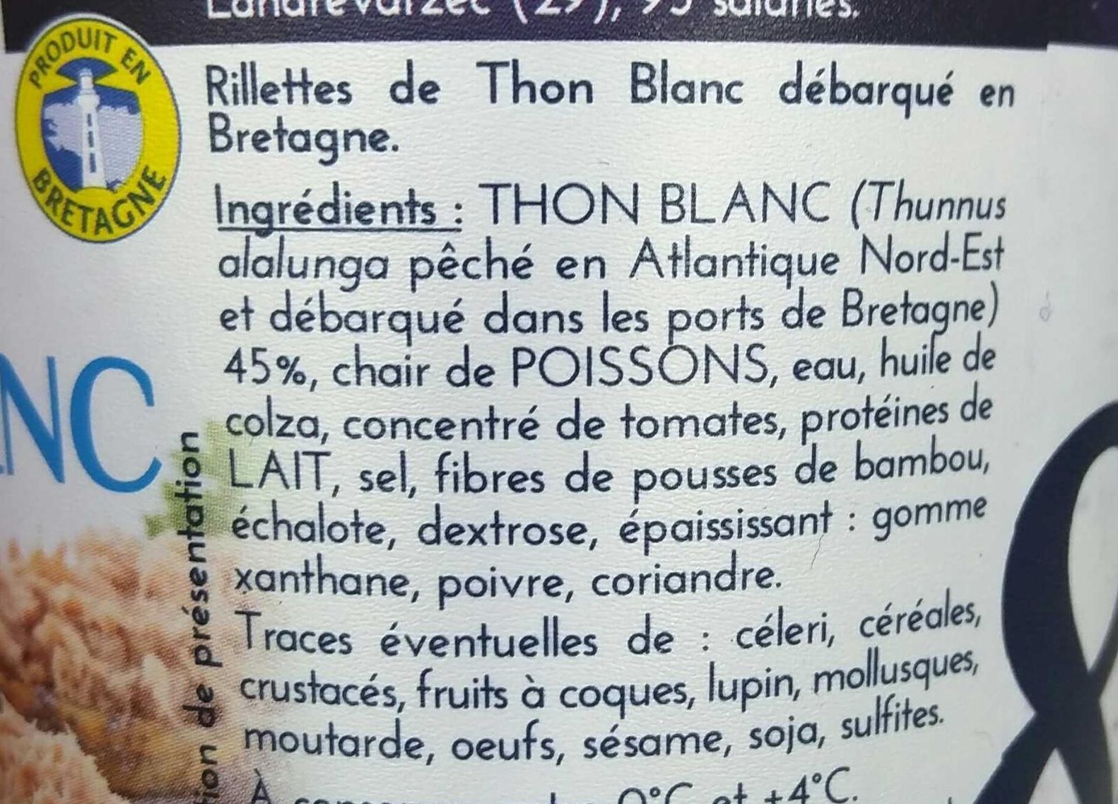 Rillettes de Thon Blanc - Ingrediënten - fr