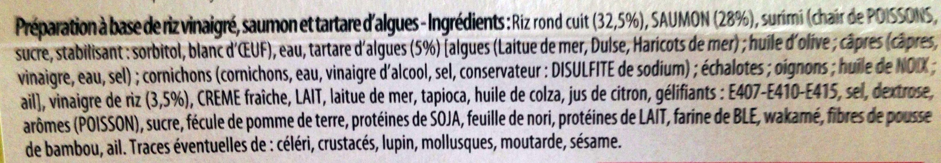 Entremets Façon Sushi : Saumon, Riz Vinaigré et Tartare d'Algues - Ingrediënten