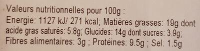 Cake chèvre et courgette - Informations nutritionnelles - fr