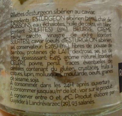 Rillettes d'esturgeon au caviar - Ingrédients - fr